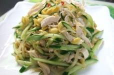 豆もやしとササミとキュウリの中華サラダ