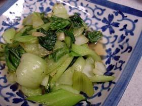 青梗菜のにんにく炒め