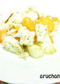 簡単・早い・柔らか✿鶏と根菜のバジル炒め