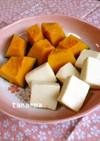 水戻しなし高野豆腐の横っちょで南瓜の煮物
