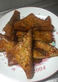 焼肉のたれで厚揚げ豆腐の照り焼き。