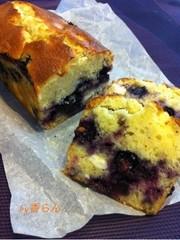 フレッシュブルーベリーたっぷりケーキの写真