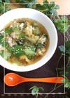 塩昆布の風味♪青梗菜とベーコンのスープ