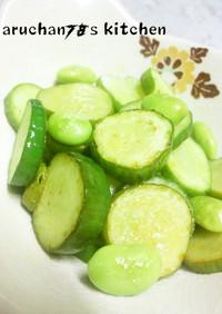 *●胡瓜と枝豆のスイートチリ炒め●*