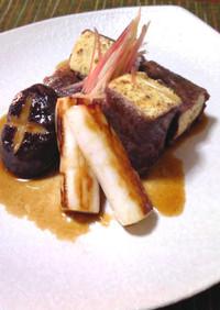 薄切り牛ロースの豆腐ステーキ