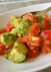 完熟アボカドとトマトのおかず兼サラダ