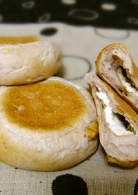 くるみとクリームチーズの平焼きパン♪