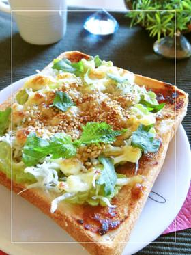 ゴーヤ・シラスともろみ味噌のトースト