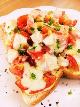 【花のズボラ飯掲載】トマトチーズトースト