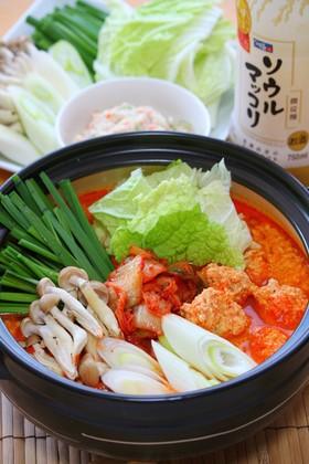 鶏団子*赤い豆乳鍋