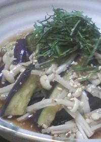 茄子とエノキのゴマ生姜醤油