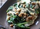 春菊、納豆と卵のからし炒め