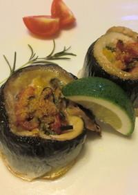 秋刀魚とパプリカのロール焼き