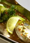 蒸し魚のパクチーとライムの特製ダレがけ