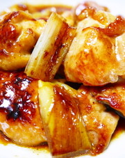 ★ズボラな焼き鳥★串なし!鶏もも肉と白葱の写真