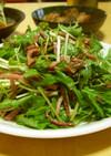 カリカリベーコンと水菜のホットサラダ