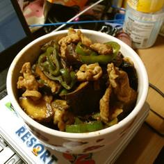 豚ナスピーマンの味噌ポン酢丼