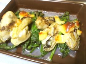 簡単☆牡蠣とほうれん草のチーズ焼き