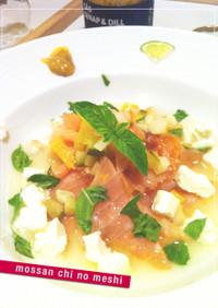 サーモンのマリネ+クリームチーズ+すだち