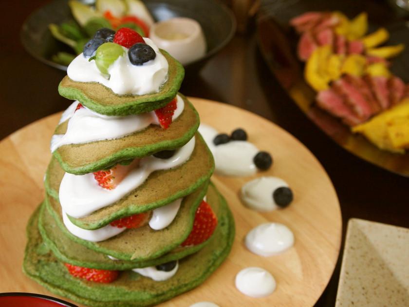 朝食に!卵不使用☆ほうれん草ホットケーキ