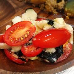 たたき長芋とプチトマトの和え物。