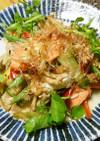 季節野菜とスモークサーモンの炒め物