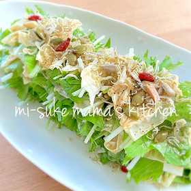 。ஐஃ湯葉と水菜と大根の京風サラダ。ஐஃ