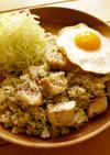 サイコロ豚ステーキのガーリック炒飯