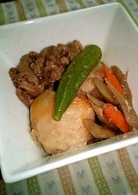 根菜入り里芋と牛肉の煮物オクラ添え