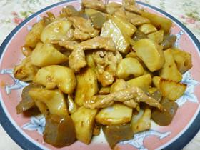 レンコンと里芋のピリ辛炒め