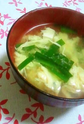 豆腐入り♫ニラの卵とじ味噌汁