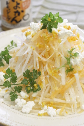 大根と柿サラダ伊予柑風味
