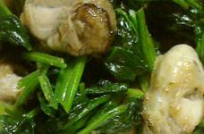 牡蠣・ほうれん草・ベーコンのソテー