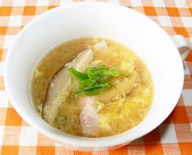 椎茸とベーコンの卵スープ♪