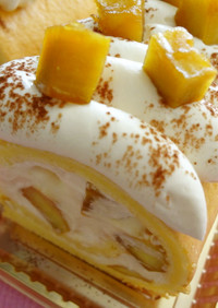 カラメルさつまいものロールケーキ