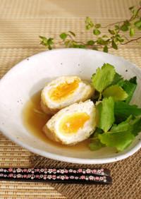 鶏挽肉と卵の餡かけ巾着♡