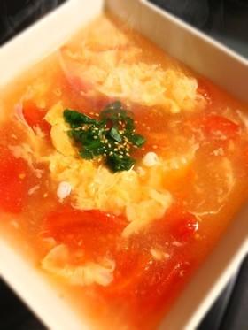 トマトとふわふわ卵の中華風スープ