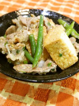 旨っ♡豚肉と厚揚げの味噌炒め。