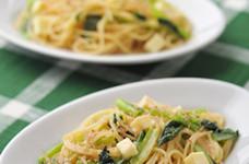 小松菜とごろごろチーズのたらこスパゲティ