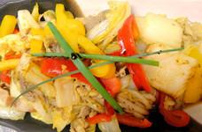 白菜とパプリカのカレーオイスター炒め