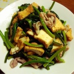 豚とほうれん草と厚揚げの炒め物