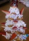 たこ焼き器で作る、クリスマスツリーケーキ