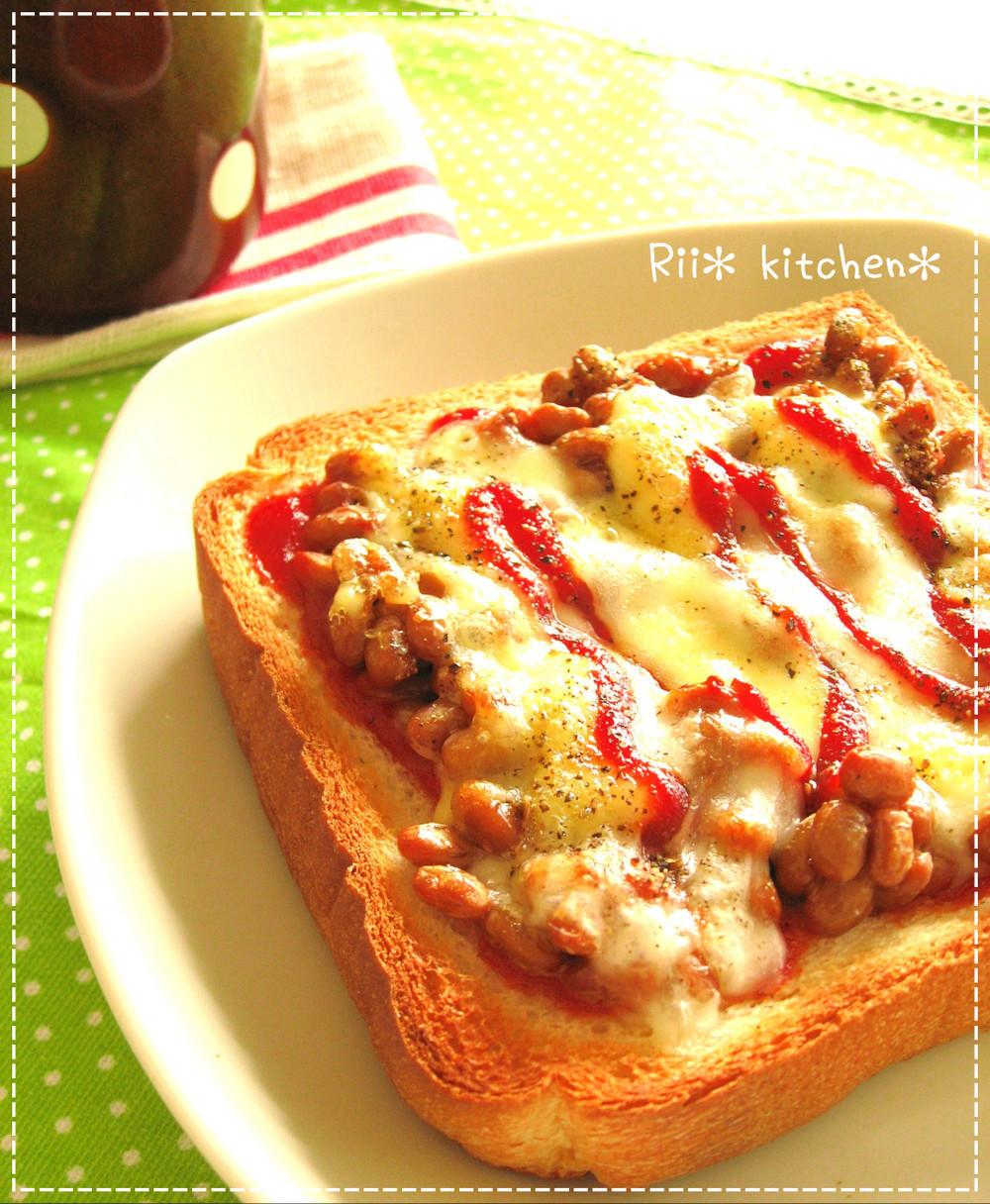 ケチャップ納豆トーストの画像