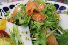 水菜とかぶ・スモークサーモンのサラダ