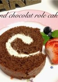 キャラメルアーモンドのココアロールケーキ