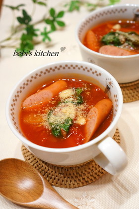 速攻!!ウインナーとレタスのトマトスープ