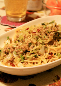 豚ひき肉と白菜の中華風ぺペロンチーノ