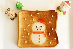 クリスマスに♪簡単!雪だるまのトースト