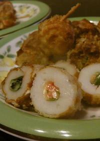 明太子チーズを竹輪で包んで揚げました❤