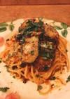 揚げズッキーニのトマトソーススパゲッティ